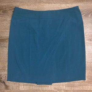 Teal Pencil Skirt with Flirty Back Pleat